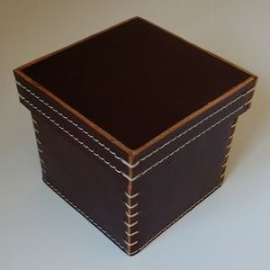 LEATHER STORAGE CONTAINER DK BROWN